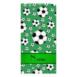 Custom name fun green soccer balls green stripe photo card