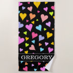 [ Thumbnail: Custom Name + Fun, Loving, Colorful Hearts Pattern Beach Towel ]
