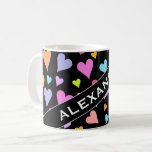 [ Thumbnail: Custom Name + Fun, Loving, Colorful Hearts Pattern Coffee Mug ]