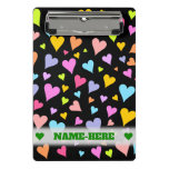 [ Thumbnail: Custom Name + Fun, Loving, Colorful Hearts Pattern Clipboard ]