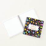 [ Thumbnail: Custom Name + Fun, Loving, Colorful Hearts Pattern Notebook ]
