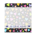 [ Thumbnail: Custom Name + Fun, Loving, Colorful Hearts Pattern Notepad ]