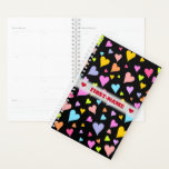 [ Thumbnail: Custom Name + Fun, Loving, Colorful Hearts Pattern Planner ]