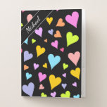 [ Thumbnail: Custom Name + Fun, Loving, Colorful Hearts Pattern Pocket Folder ]