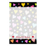 [ Thumbnail: Custom Name + Fun, Loving, Colorful Hearts Pattern Stationery ]