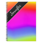 [ Thumbnail: Custom Name; Fun Multicolored Rainbow-Like Pattern Notebook ]