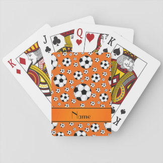 Custom name fun orange soccer balls orange stripe playing cards