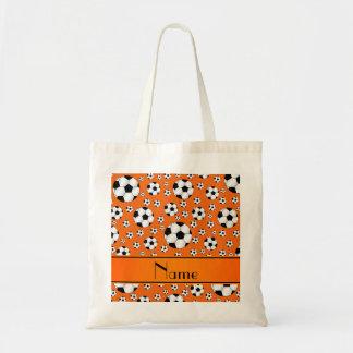 Custom name fun orange soccer balls orange stripe tote bag