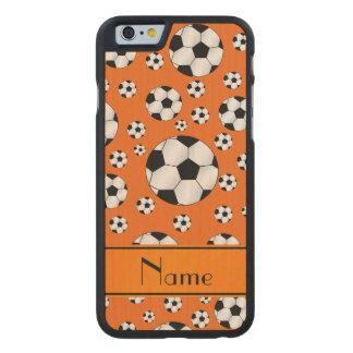 Custom name fun orange soccer balls orange stripe carved® maple iPhone 6 slim case