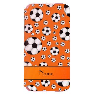 Custom name fun orange soccer balls orange stripe incipio watson™ iPhone 6 wallet case