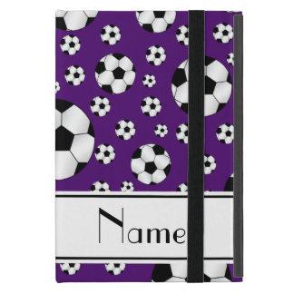 Custom name fun purple soccer balls white stripe case for iPad mini