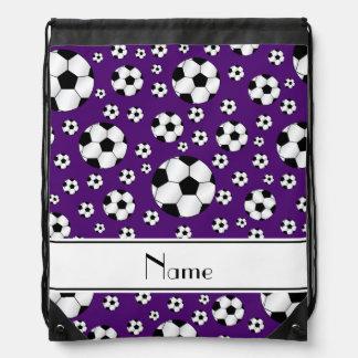 Custom name fun purple soccer balls white stripe drawstring bag