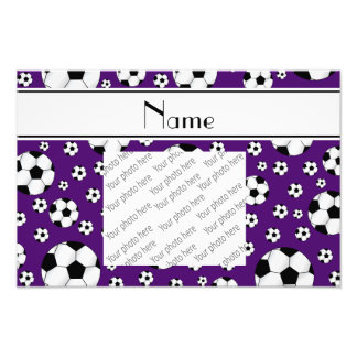 Custom name fun purple soccer balls white stripe photographic print