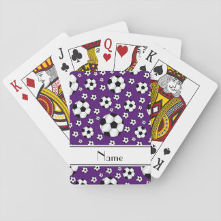 Custom name fun purple soccer balls white stripe playing cards