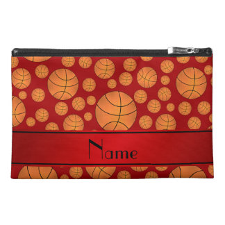 Custom name fun red basketballs red stripe travel accessory bag