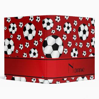 Custom name fun red soccer balls red stripe binders