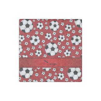 Custom name fun red soccer balls red stripe stone magnet
