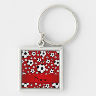 Custom name fun red soccer balls red stripe Silver-Colored square keychain