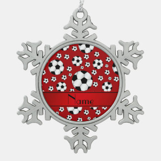 Custom name fun red soccer balls red stripe snowflake pewter christmas ornament