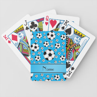 Custom name fun sky blue soccer balls blue stripe bicycle playing cards