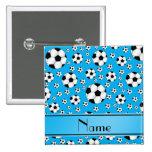 Custom name fun sky blue soccer balls blue stripe pin