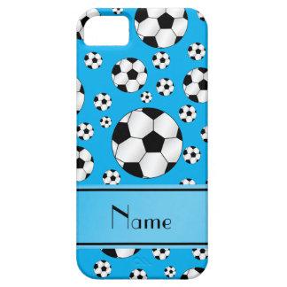 Custom name fun sky blue soccer balls blue stripe iPhone 5 cases