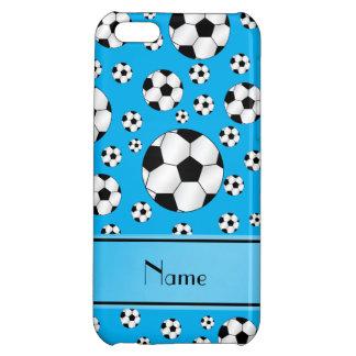 Custom name fun sky blue soccer balls blue stripe iPhone 5C case
