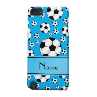 Custom name fun sky blue soccer balls blue stripe iPod touch 5G cover