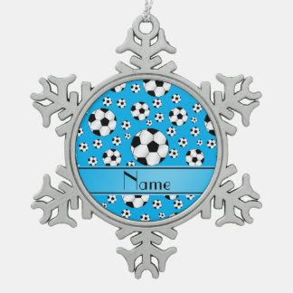 Custom name fun sky blue soccer balls blue stripe snowflake pewter christmas ornament