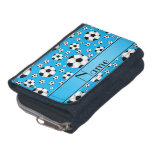 Custom name fun sky blue soccer balls blue stripe wallet