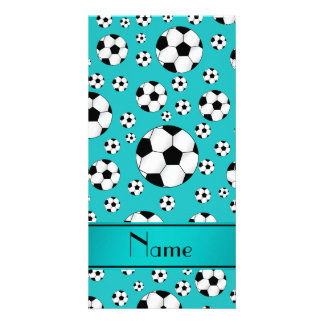 Custom name fun turquoise soccer balls and stripe photo greeting card