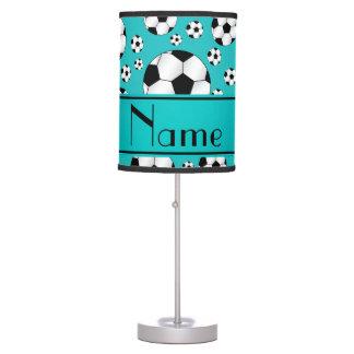 Custom name fun turquoise soccer balls and stripe table lamp