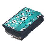 Custom name fun turquoise soccer balls and stripe wallet