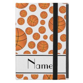 Custom name fun white basketballs white stripe case for iPad mini