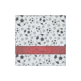 Custom name fun white soccer balls red stripe stone magnet