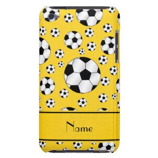 Custom name fun yellow soccer balls yellow stripe iPod Case-Mate cases