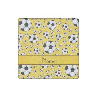 Custom name fun yellow soccer balls yellow stripe stone magnet