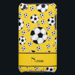 "Custom name fun yellow soccer balls yellow stripe iPod touch cover<br><div class=""desc"">Modern and trendy Custom name sports random black and white soccer balls pattern yellow background and with yellow stripe personalized with just add your name gifts or monogram gifts or your initials for a unique gift. Sports gift ideas for men and boys and girls. Ideal for birthdays.</div>"