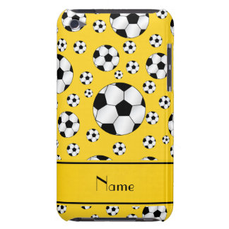 Custom name fun yellow soccer balls yellow stripe iPod touch cover