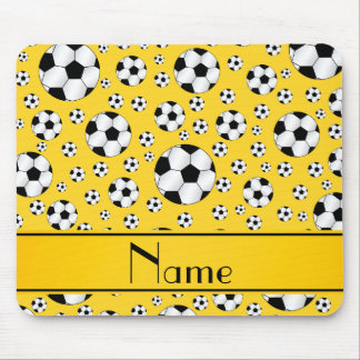 Custom name fun yellow soccer balls yellow stripe mouse pad