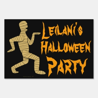 Custom Name Funny Mummy Halloween Party Yard Sign