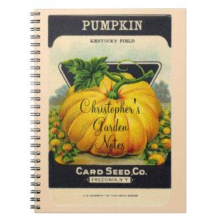 Custom Name gardener's vintage pumpkin seed packet Spiral Notebook