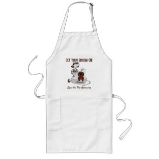 Custom Name Get Your Groom On in Brown Long Apron
