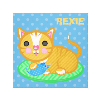 Custom Name Ginger Kitty Cat Wrapped Canvas Canvas Print