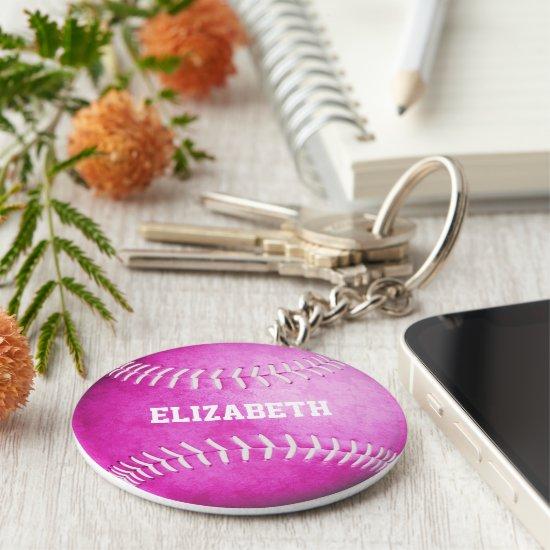 custom name girls pink softball keychain