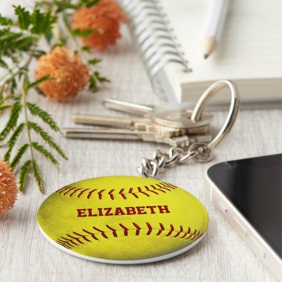 custom name girls yellow softball keychain
