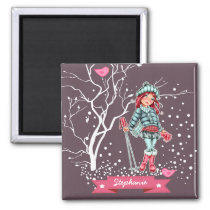 Custom Name Girly Design Christmas Gift Magnet