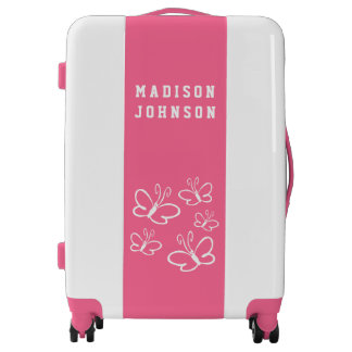Custom Name Girly Pink Violet White Butterflies Luggage