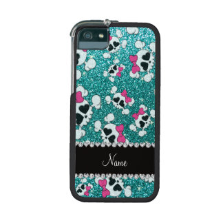 Custom name glitter aqua blue skulls pink bows cover for iPhone 5/5S