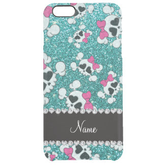 Custom name glitter aqua blue skulls pink bows uncommon clearly™ deflector iPhone 6 plus case